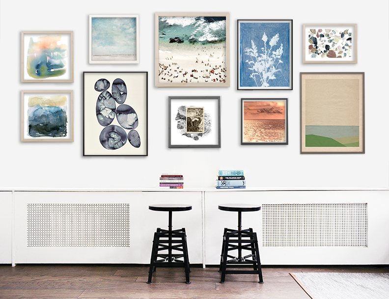 Windswept but zen, clean yet organic, this gallery wall is inspired by our summer 2017 trend forecast, Raw Coast.